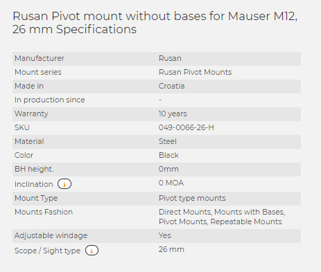 Rusan Pivot mount without bases for Mauser M12, 26 mm