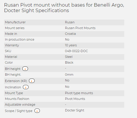 Rusan Pivot mount without bases for Benelli Argo, Docter Sight
