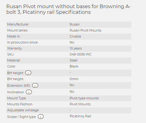 Rusan Pivot mount without bases for Browning A-bolt 3, Picatinny rail