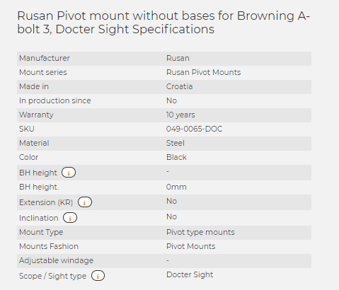 Rusan Pivot mount without bases for Browning A-bolt 3, Docter Sight