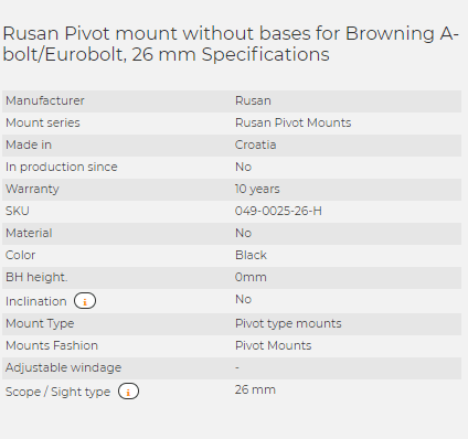 Rusan Pivot mount without bases for Browning A-bolt/Eurobolt, 26 mm