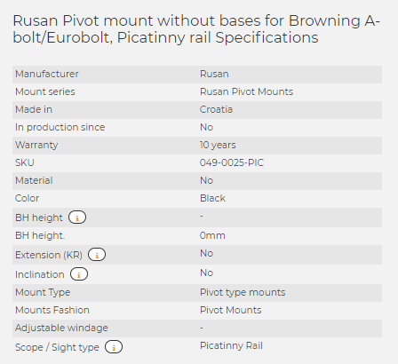 Rusan Pivot mount without bases for Browning A-bolt/Eurobolt, Picatinny rail