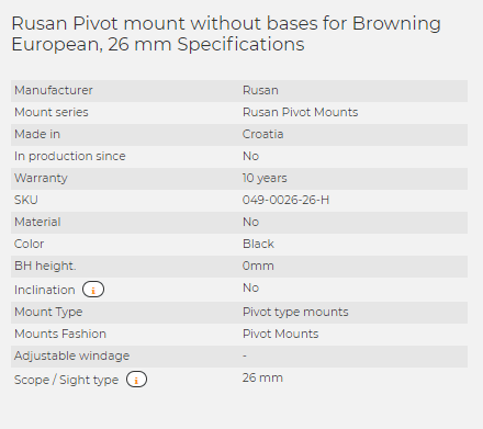 Rusan Pivot mount without bases for Browning European, 26 mm