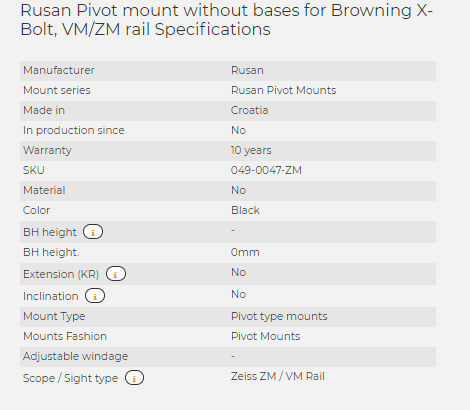 Rusan Pivot mount without bases for Browning X-Bolt, VM/ZM rail