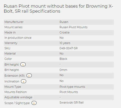 Rusan Pivot mount without bases for Browning X-Bolt, SR rail