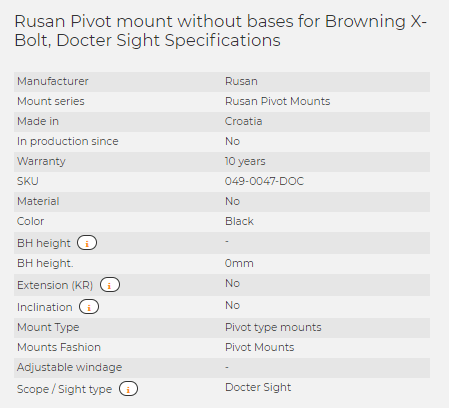 Rusan Pivot mount without bases for Browning X-Bolt, Docter Sight