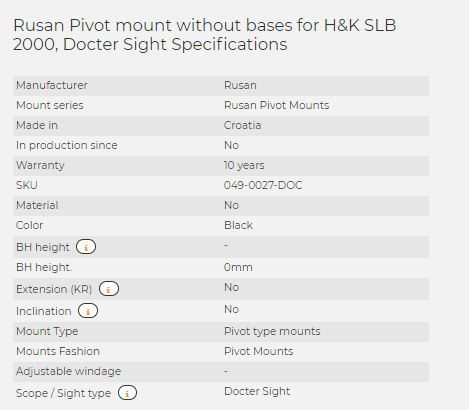 Rusan Pivot mount without bases for H&K SLB 2000, Docter Sight