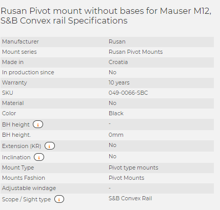 Rusan Pivot mount without bases for Mauser M12, S&B Convex rail