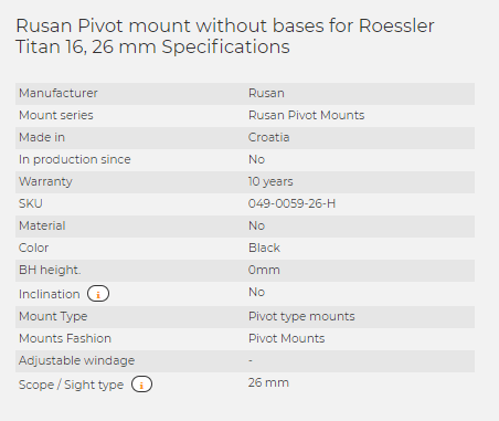 Rusan Pivot mount without bases for Roessler Titan 16, 26 mm