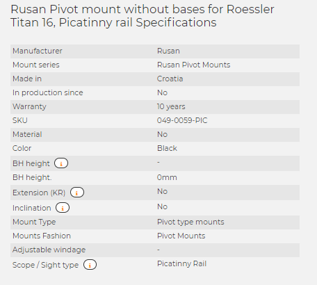 Rusan Pivot mount without bases for Roessler Titan 16, Picatinny rail