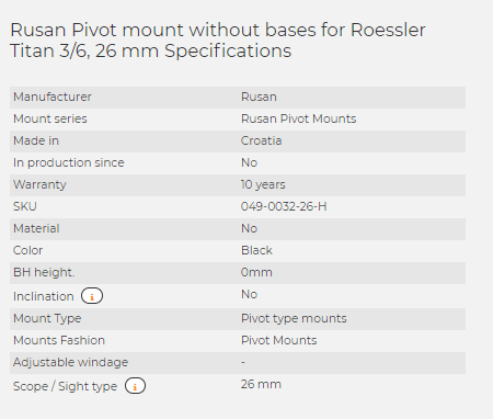 Rusan Pivot mount without bases for Roessler Titan 3/6, 26 mm