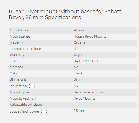 Rusan Pivot mount without bases for Sabatti Rover, 26 mm