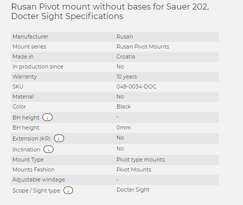 Rusan Pivot mount without bases for Sauer 202, Docter Sight