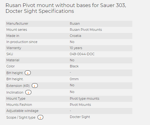 Rusan Pivot mount without bases for Sauer 303, Docter Sight