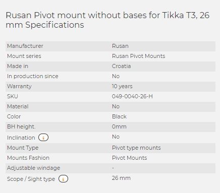 Rusan Pivot mount without bases for Tikka T3, 26 mm