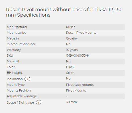 Rusan Pivot mount without bases for Tikka T3, 30 mm