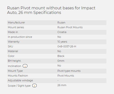 Rusan Pivot mount without bases for Impact Auto, 26 mm