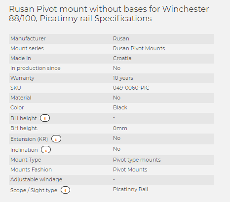 Rusan Pivot mount without bases for Winchester 88/100, Picatinny rail