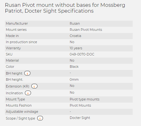 Rusan Pivot mount without bases for Mossberg Patriot, Docter Sight