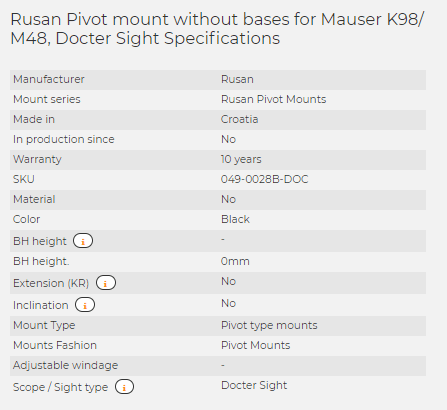 Rusan Pivot mount without bases for Mauser K98/ M48, Docter Sight