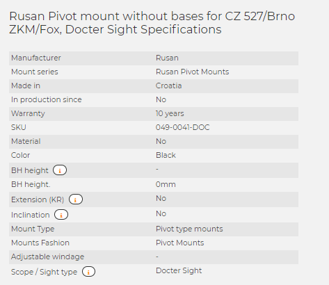 Rusan Pivot mount without bases for CZ 527/Brno ZKM/Fox, Docter Sight
