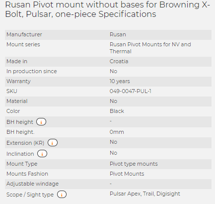 Rusan Pivot mount without bases for Browning X-Bolt, Pulsar, one-piece