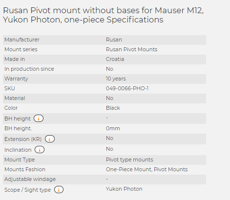 Rusan Pivot mount without bases for Mauser M12, Yukon Photon, one-piece