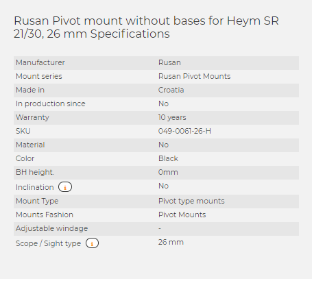 Rusan Pivot mount without bases for Heym SR 21/30, 26 mm
