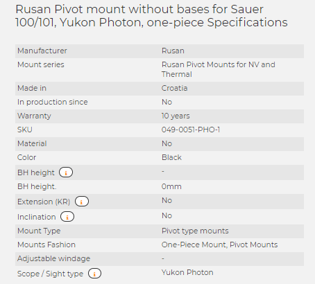Rusan Pivot mount without bases for Sauer 100/101, Yukon Photon, one-piece