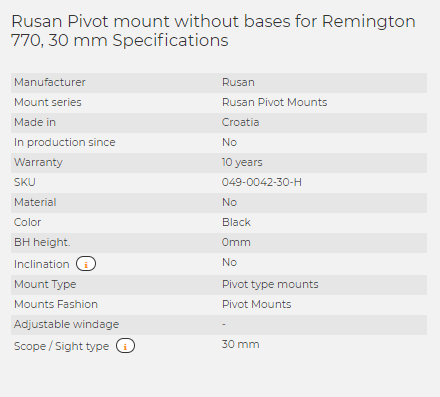 Rusan Pivot mount without bases for Remington 770, 30 mm