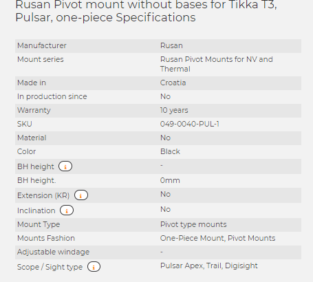 Rusan Pivot mount without bases for Tikka T3, Pulsar, one-piece