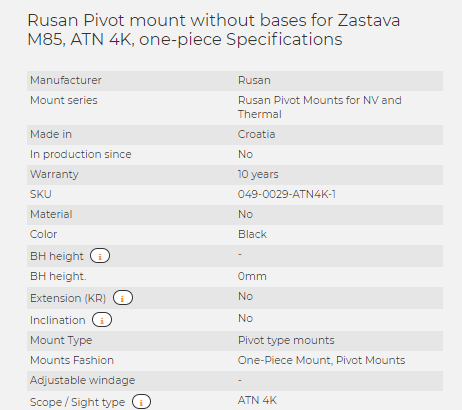 Rusan Pivot mount without bases for Zastava M85, ATN 4K, one-piece