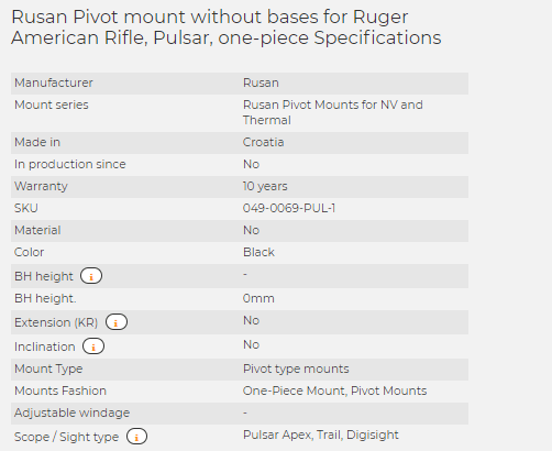Rusan Pivot mount without bases for Ruger American Rifle, Pulsar, one-piece