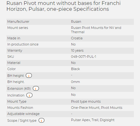 Rusan Pivot mount without bases for Franchi Horizon, Pulsar, one-piece