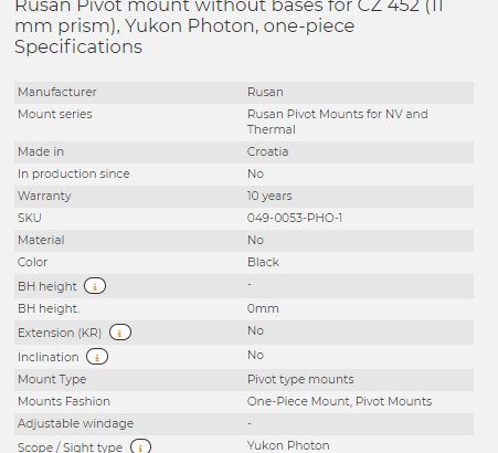 Rusan Pivot mount without bases for CZ 452 (11 mm prism), Yukon Photon, one-piece