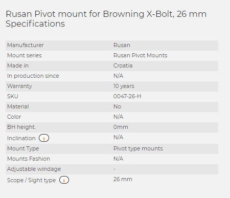 Rusan Pivot mount for Browning X-Bolt, 26 mm
